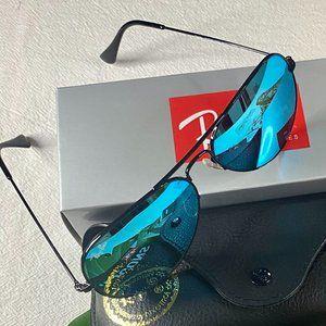 NWT RB3025 Blue Aviators Sunglasses 58mm